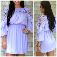 Cha Cha Chica Lilac Applique Neckline Dress
