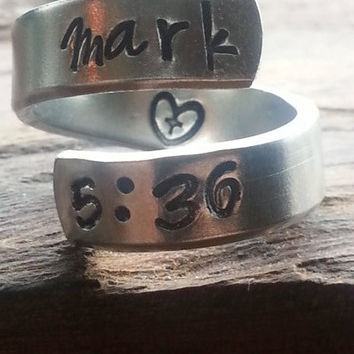 """Mark 5:36  """"Don't be afraid; just believe."""" heart and cross inside spiral hand stamped"""