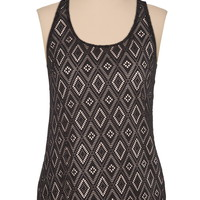 lattice back lace front tank