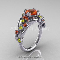 Nature Classic 14K White Gold 1.0 Ct Orange and Yellow Sapphire Leaf and Vine Engagement Ring R340-14KWGYOS