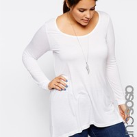 ASOS CURVE Exclusive Swing Top In White at asos.com