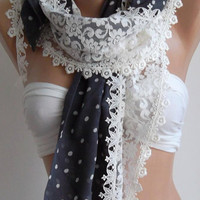 Polka Dot Lace and Fabric Combination Shawl by womann on Etsy