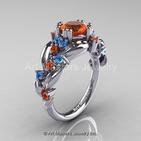 Nature Classic 14K White Gold 1.0 Ct Orange Sapphire Blue Topaz Leaf and Vine Engagement Ring R340-14KWGBTOS