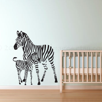 Baby and mama zebra wall decal, wall sticker, decal, wall graphic, living room decal, vinyl decal,…