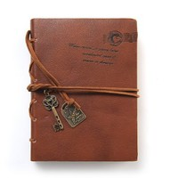 Aitao Journal Diary String Key Retro Vintage Classic Leather Bound Notebook Dark Coffee