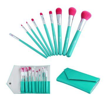 2014 New Ovonni® Starter Kit, 9 pcs Travel Essentials Makeup Brush Sets, Included Powder brush, Blush Brush, Foundation brush, Nose brush, Eyeshadow brush, Lip brush, Eyeliner brush With Lake Green Leather Bag Case