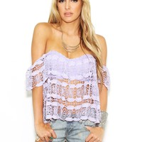 West Coast Wardrobe Morgan's Crochet Lace Off the Shoulder Top in Lavender