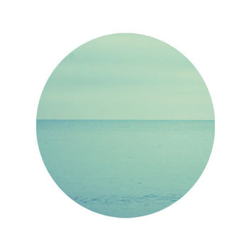 Blue Minimalist Coastal Sea Photography - Square Circle - 20x20 cm - 8''x8'' - Home Wall Office Decor - Geometrical - Design