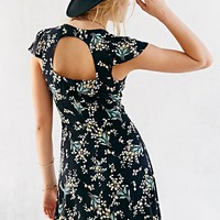 Glamorous Button-Front Cutout-Back Fit + Flare Dress - Urban Outfitters