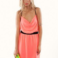 Pink Party Dress - Neon Pink Chiffon Dress with | UsTrendy