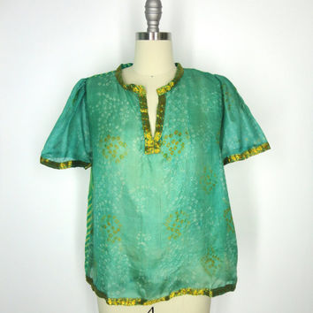 Silk Blouse / Hand Made / Vintage Indian Silk Sari / Green Gold Polka Dots Chevron Stripes / Limited Edition / Size S Small