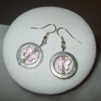 NEW Encircled Butterflies - Pink Crystal Butterfly Earrings wsilver | DesignsByAmyB - Jewelry on ArtFire