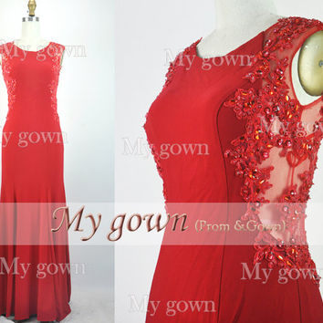 2014 Red Evening Dress,Straps Lace Beads Red Prom Dress,Formal Gown,Wedding Dress,Bridal dress,Bride Dress,Prom Gown,Wedding Gown,Ball Dress