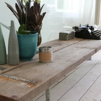 Reclaimed Scaffolding Boards and Galvanised Steel Pipe Long Low TV Bench or Console Table
