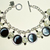 MOON PHASES Charm Bracelet Celestial Lunar Altered ART | Luulla