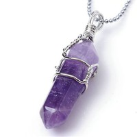 Jovivi Rock Crystal Divination Quartz Healing Point Chakra Pendant Beads Necklace - Amethyst