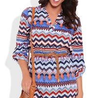 Belted Multicolor Shirt Dress with Three Quarter Sleeves