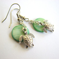 Green Sea Turtle Earrings - Dangle Mother of Pearl Disc Bead and Turtle Charm Jewelry