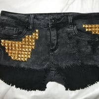 Acid Wash Denim Gold Studded Shorts Size 9 by RomiFash on Etsy