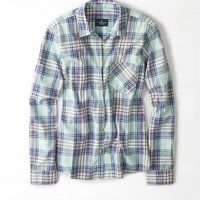 AEO Plaid Button Down Shirt, Mint | American Eagle Outfitters