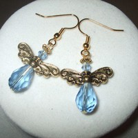NEW On Golden Wings - Crystal Angel Earrings | DesignsByAmyB - Jewelry on ArtFire