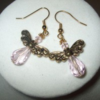 NEW On Golden Wings - Crystal Angel Earrings pink Any Age Female | DesignsByAmyB - Jewelry on ArtFire