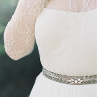 "Grey sash with silver leaf detail and crystals ""Ainsly"""