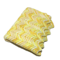 Crochet Chevron Blanket Afghan In Shades of Yellow Hand Crocheted Afghan