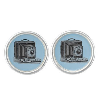 Vintage Camera Blue Cuff Links