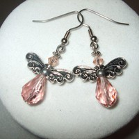 Guardians of the Heart - Crystal Guardian Angel Earrings pink Any Age Female | DesignsByAmyB - Jewelry on ArtFire