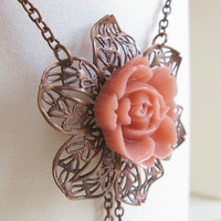 Wild Rose vintage copper filigree necklace with by PragueVintage