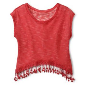 Juniorx27s Knit Top with Fringe