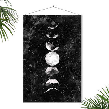Full Moon Poster Geometric Art Galaxy Sky Space Stars Geometric Decor Watercolor Art Astronomy…