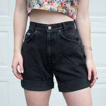 "Vintage High-Rise Black Denim Shorts - 26"" Waist"