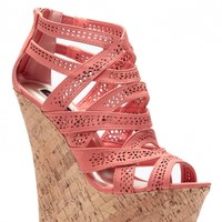 Coral Laser Cut Curves Ahead Cork Wedges @ Cicihot Wedges Shoes Store:Wedge Shoes,Wedge Boots,Wedge Heels,Wedge Sandals,Dress Shoes,Summer Shoes,Spring Shoes,Prom Shoes,Women's Wedge Shoes,Wedge Platforms Shoes,floral wedges