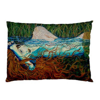 RW2 Mermaid Pillow case Ophelia Art Surreal painting by RW2Gallery