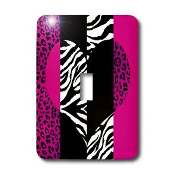 3dRose LLC lsp_35437_1 Pink Black and White Animal Print, Leopard and Zebra Heart, Single Toggle Switch