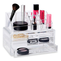 Richards Homewares Clear 19 Compartment Cosmetic Organizer with Drawers