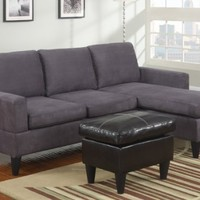 Hesse Reversible sectional sofa in Microfiber finish with Free ottoman (Grey)