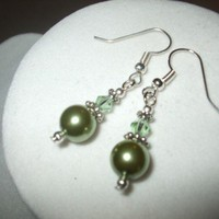 NEW 3 Earrings - Classic Crystal and Pearl Elegance Bridal Earrings green Any Age Female | DesignsByAmyB - Jewelry on ArtFire