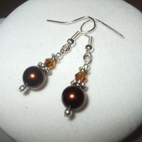 NEW 3 Earrings - Classic Crystal and Pearl Elegance Bridal Earrings brown Any Age Female | DesignsByAmyB - Jewelry on ArtFire