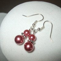 3 EARRINGS - Rose Pink Glass Pearl Bridal Earrings pink Any Age Female | DesignsByAmyB - Jewelry on ArtFire