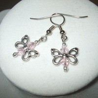 NEW Flutter By Butterfly - Silver Butterfly Earrings With Crystals | DesignsByAmyB - Jewelry on ArtFire