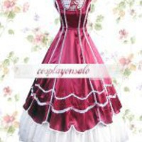 Lolita Costumes Deep Red And White Cotton Classic Lolita Dress [T110151] - $73.00
