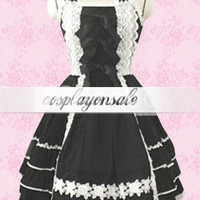 Lolita Costumes Black Halter Lace Bow Cotton Sweet Lolita Dress [T110712] - $71.00