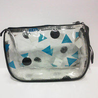 SALE Vtg 90's Translucent See-Through Clear Plastic Triangle Circle Pouch