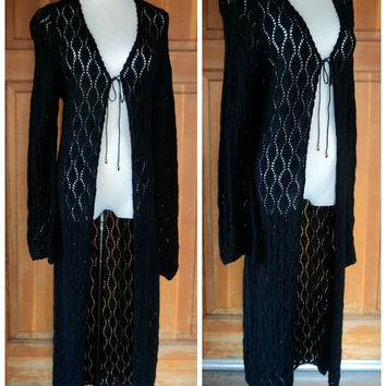 Vintage 90s Long Sweater Cardigan Hippie Sweater Flared Sleeve Open Maxi Sweater Cutout Boho S 34 B