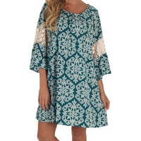 Teal & White Damask Crochet Dress | zulily