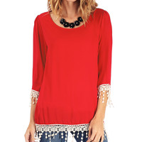 Red Crochet Scoop Neck Blouse | zulily