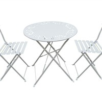 Metal Bistro Set with Two Chairs - White
